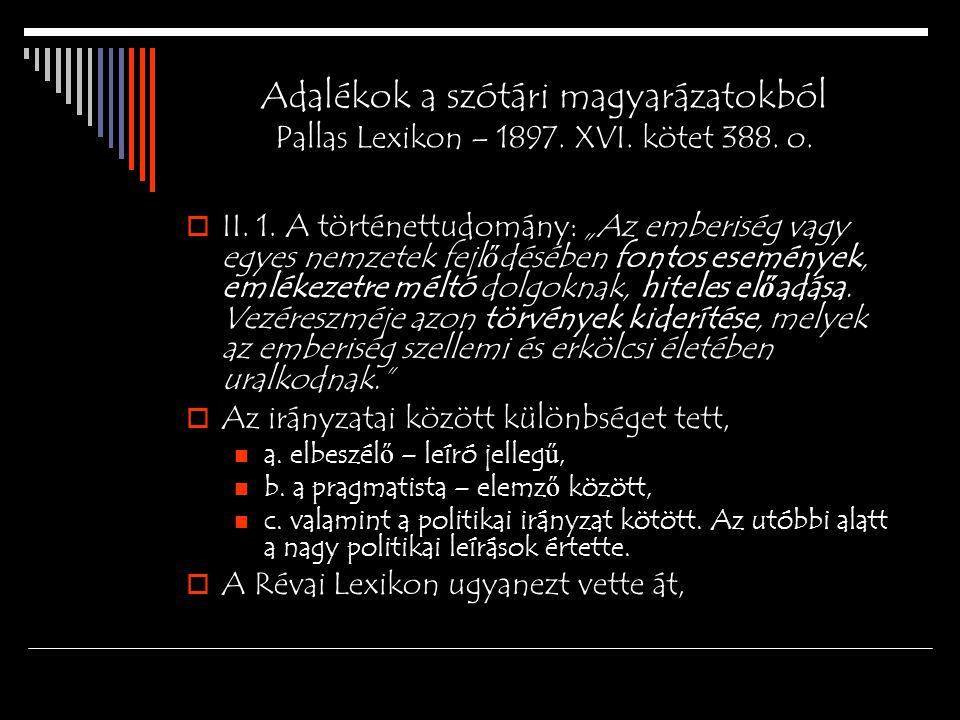 Adalékok a szótári magyarázatokból Pallas Lexikon – 1897. XVI
