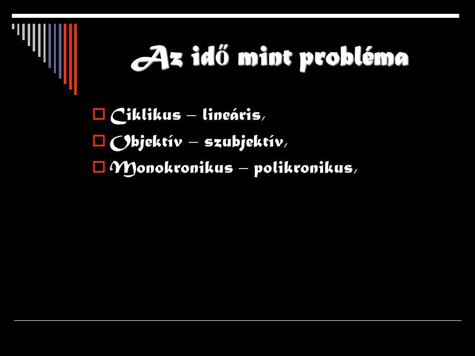 Az idő mint probléma Ciklikus – lineáris, Objektív – szubjektív,