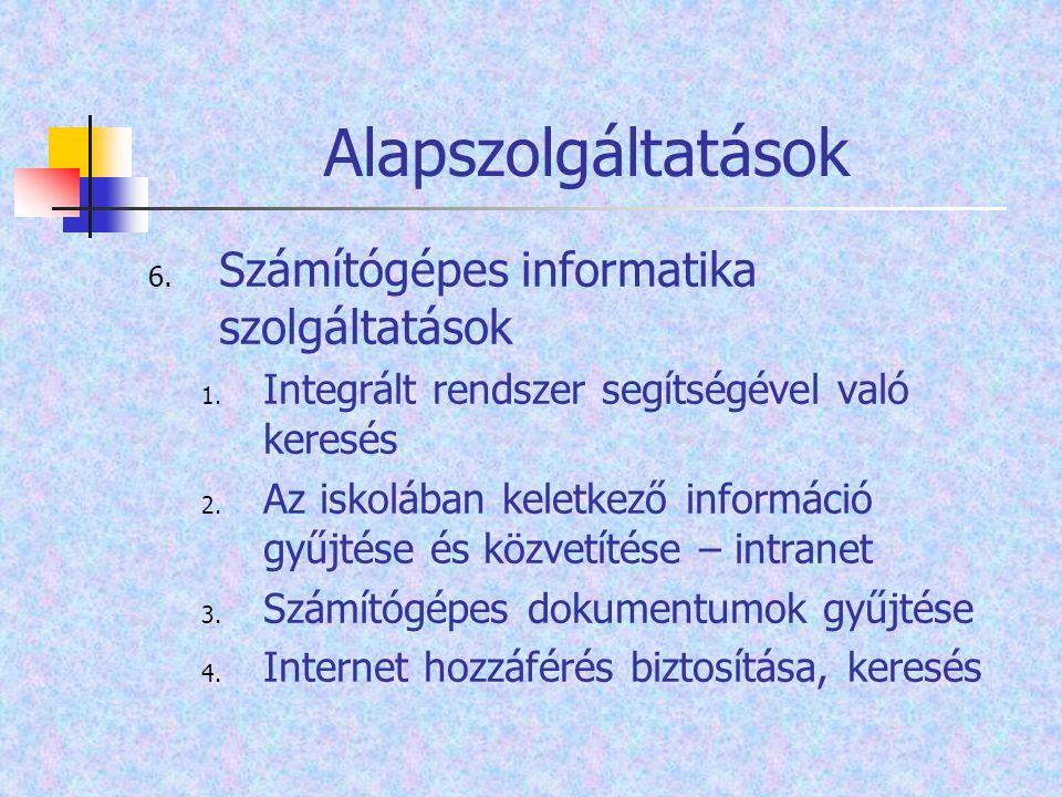 Alapszolgáltatások Számítógépes informatika szolgáltatások