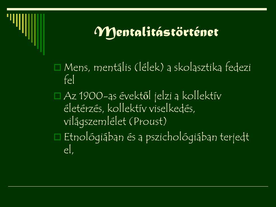 Mentalitástörténet Mens, mentális (lélek) a skolasztika fedezi fel