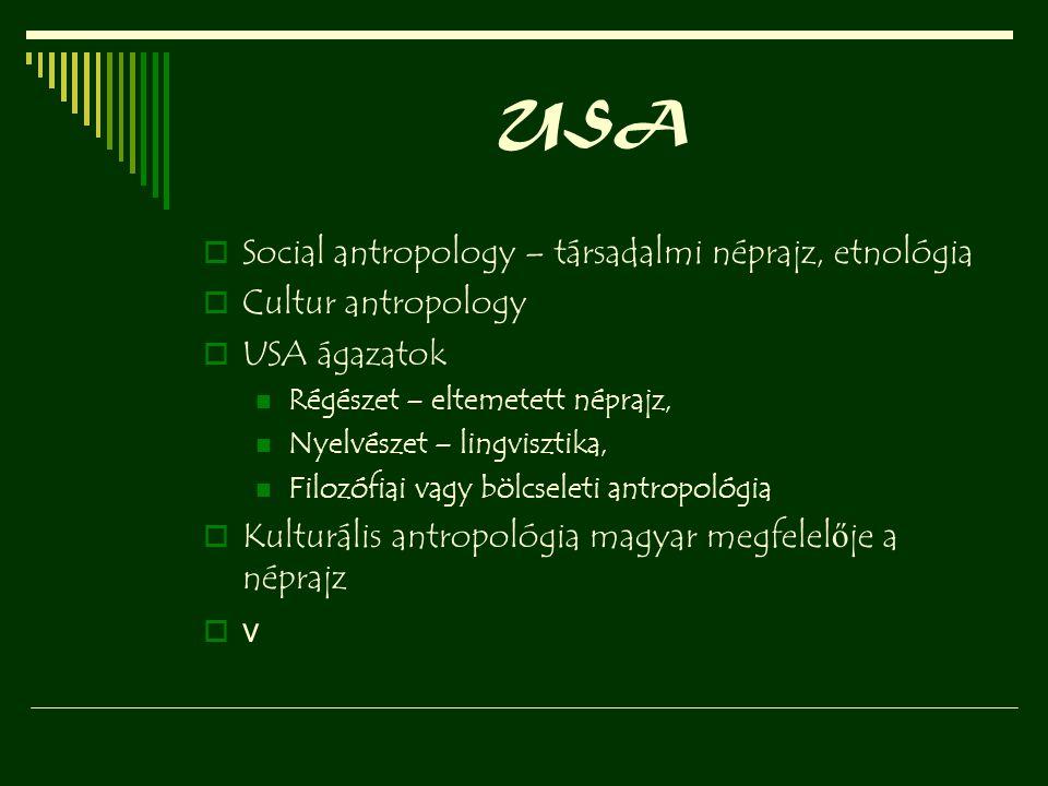 USA Social antropology – társadalmi néprajz, etnológia