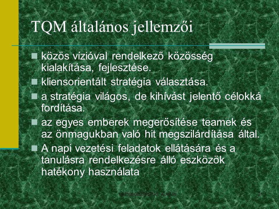 TQM általános jellemzői
