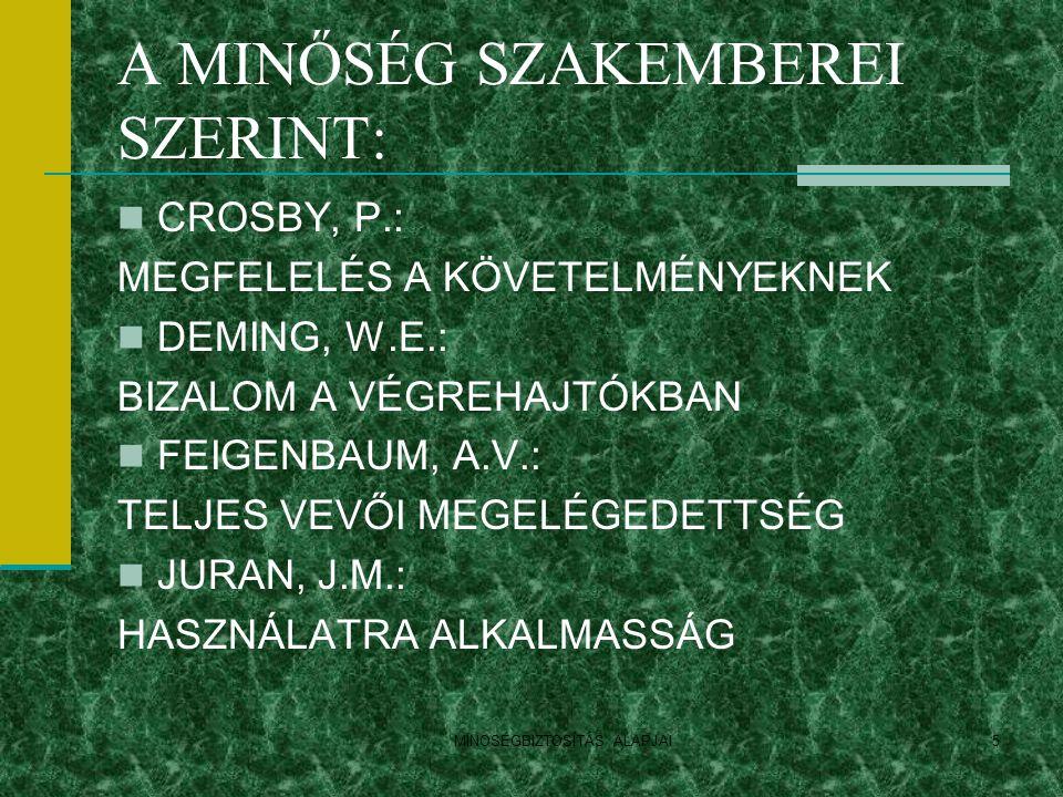 A MINŐSÉG SZAKEMBEREI SZERINT: