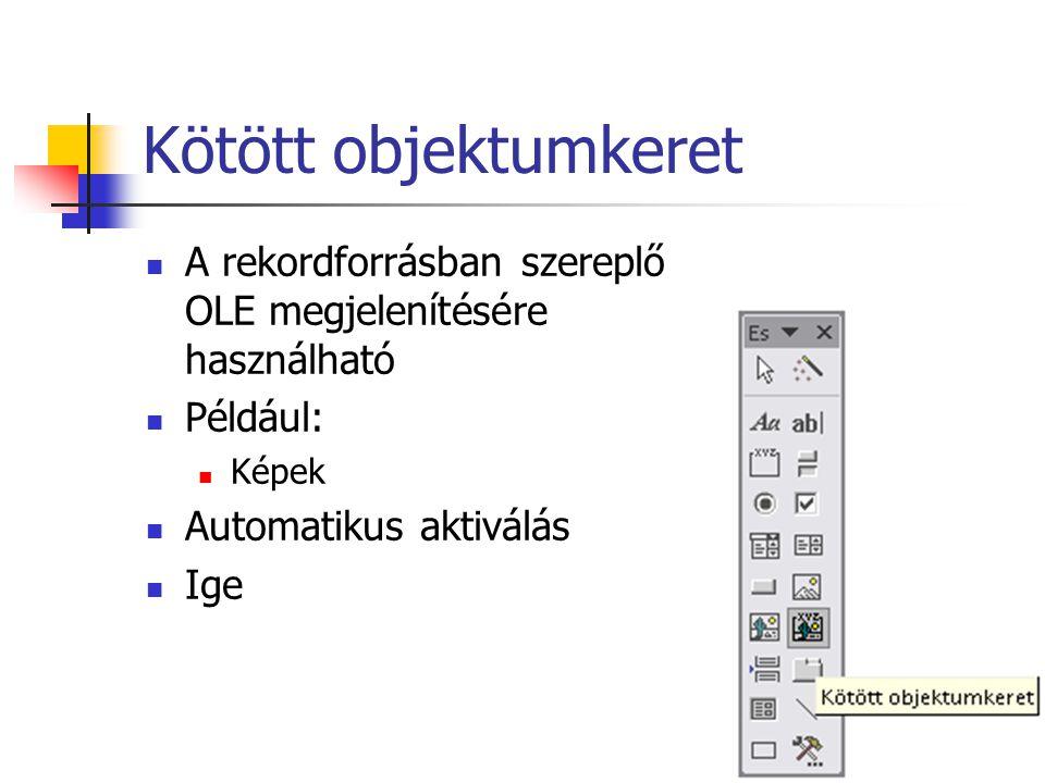 Kötött objektumkeret A rekordforrásban szereplő OLE megjelenítésére használható. Például: Képek. Automatikus aktiválás.