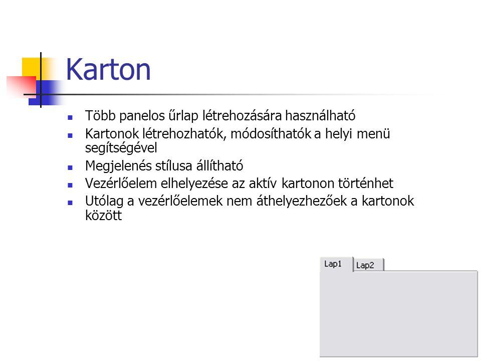 Karton Több panelos űrlap létrehozására használható