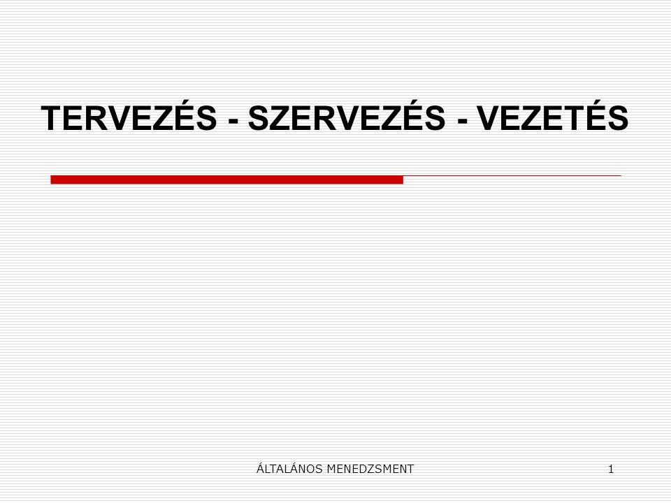 TERVEZÉS - SZERVEZÉS - VEZETÉS
