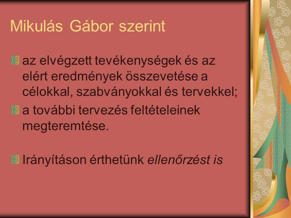 Mikulás Gábor szerint az elvégzett tevékenységek és az elért eredmények összevetése a célokkal, szabványokkal és tervekkel;