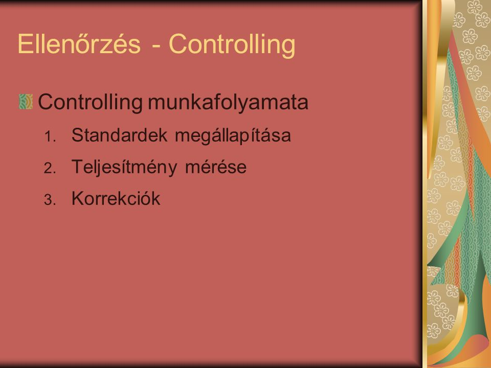 Ellenőrzés - Controlling