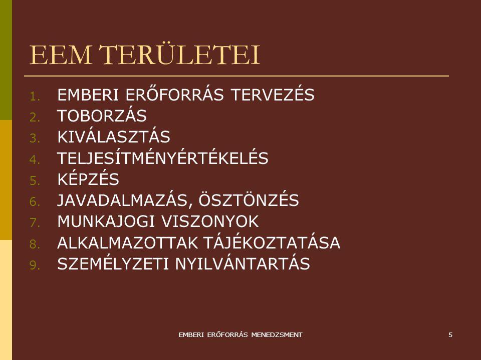 EMBERI ERŐFORRÁS MENEDZSMENT