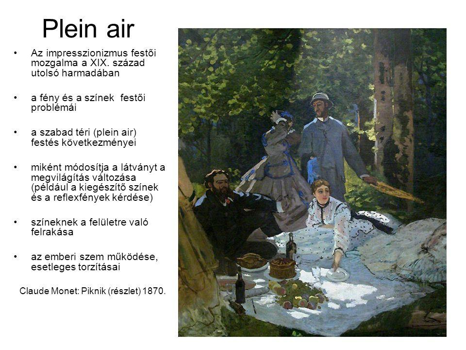 Plein air Az impresszionizmus festői mozgalma a XIX. század utolsó harmadában. a fény és a színek festői problémái.