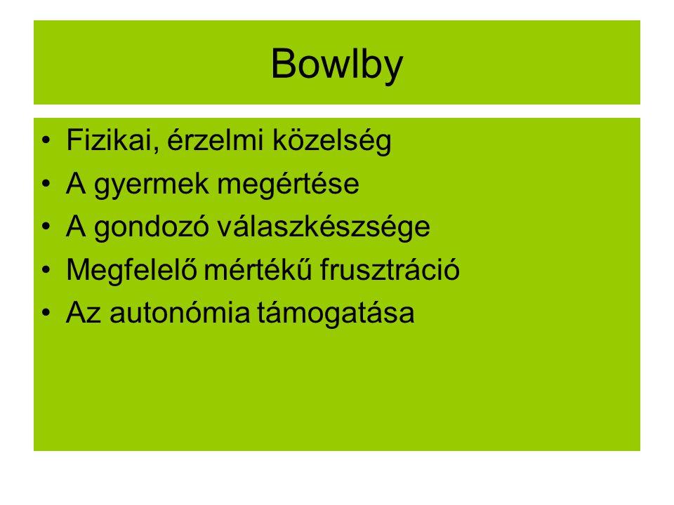 Bowlby Fizikai, érzelmi közelség A gyermek megértése