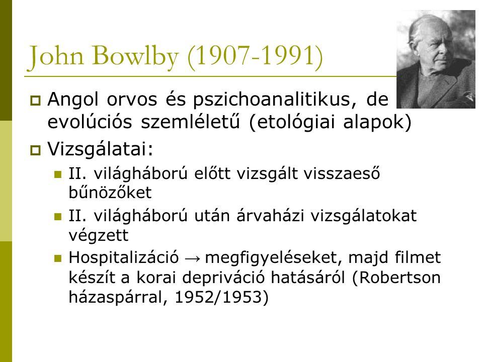 John Bowlby (1907-1991) Angol orvos és pszichoanalitikus, de evolúciós szemléletű (etológiai alapok)