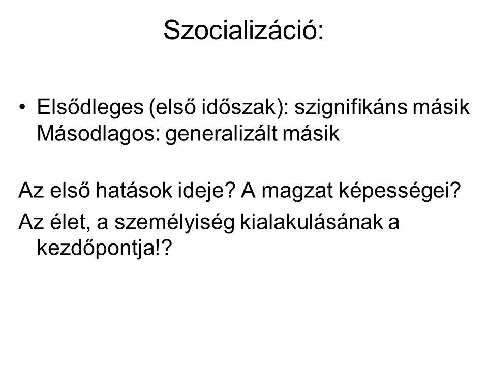 Szocializáció: Elsődleges (első időszak): szignifikáns másik Másodlagos: generalizált másik. Az első hatások ideje A magzat képességei