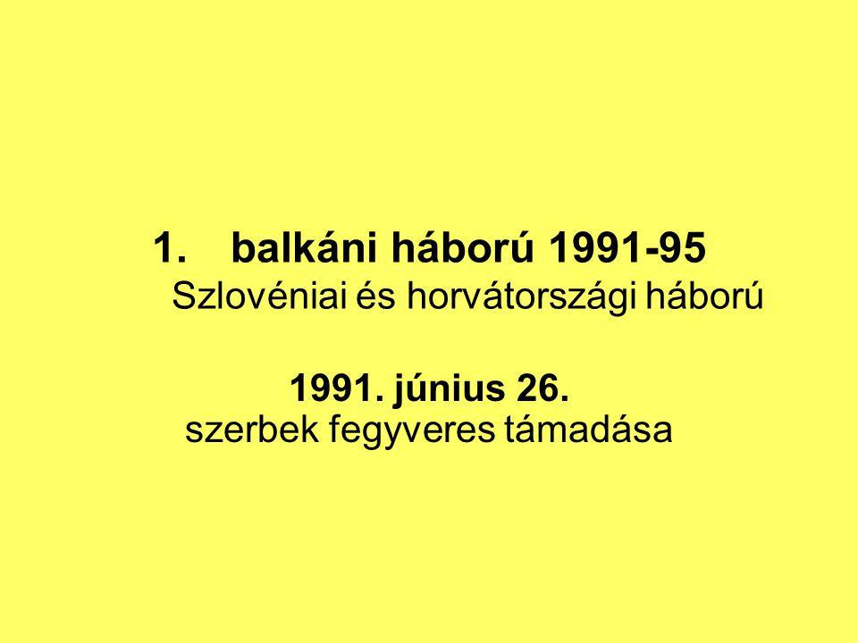 balkáni háború 1991-95 Szlovéniai és horvátországi háború