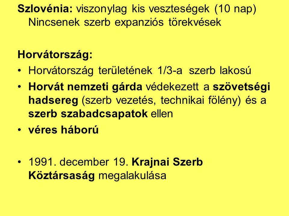 Szlovénia: viszonylag kis veszteségek (10 nap) Nincsenek szerb expanziós törekvések
