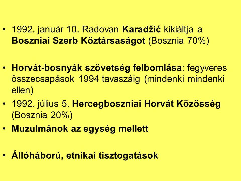 1992. január 10. Radovan Karadžić kikiáltja a Boszniai Szerb Köztársaságot (Bosznia 70%)
