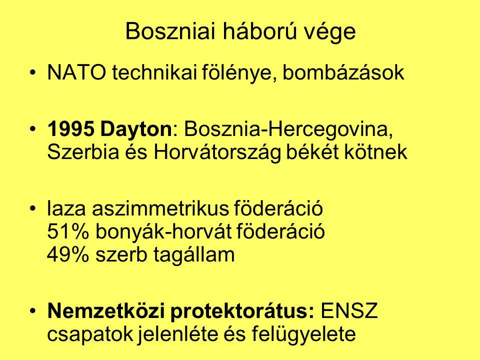 Boszniai háború vége NATO technikai fölénye, bombázások