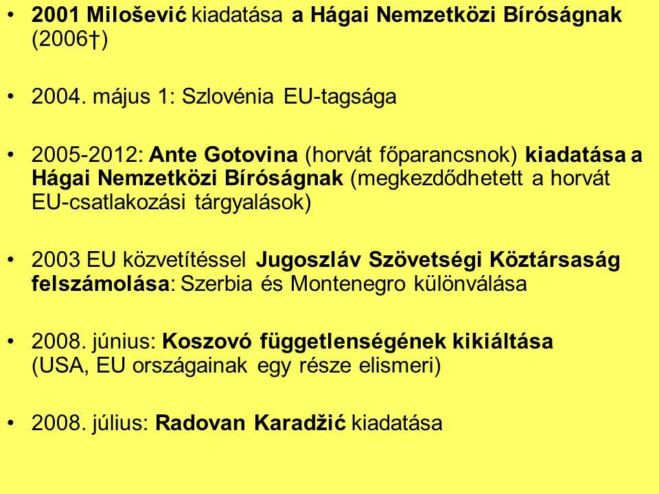 2001 Milošević kiadatása a Hágai Nemzetközi Bíróságnak (2006†)