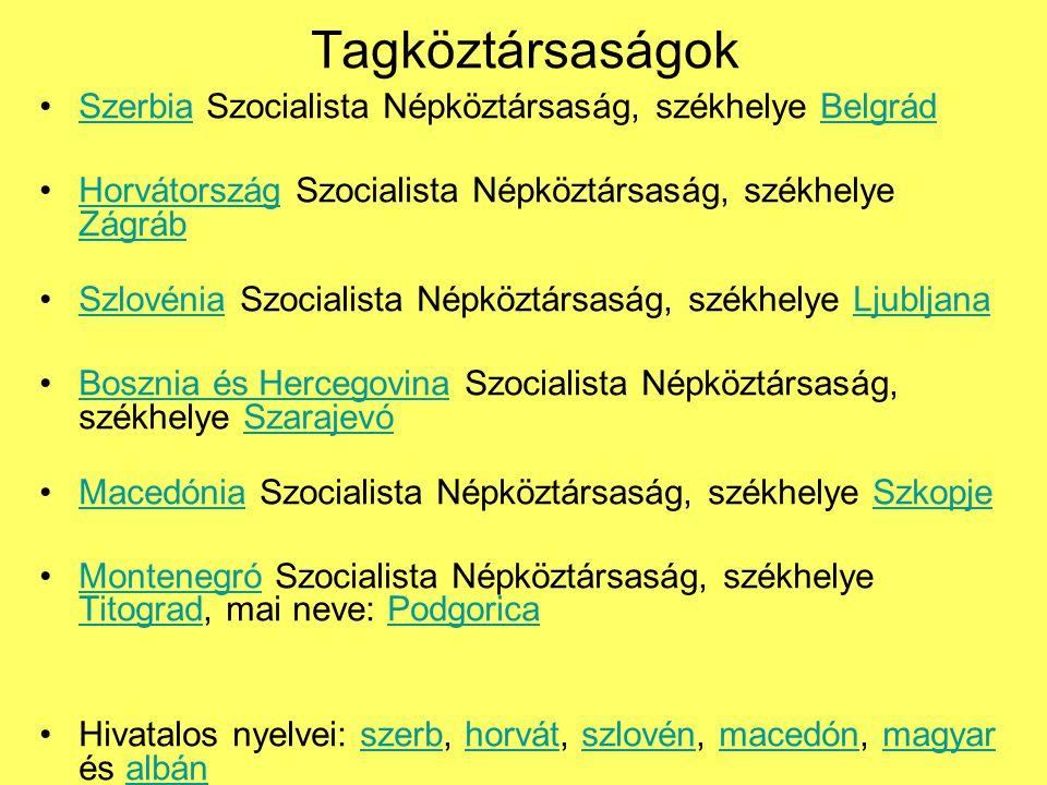 Tagköztársaságok Szerbia Szocialista Népköztársaság, székhelye Belgrád