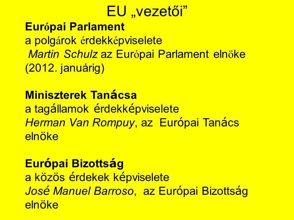 """EU """"vezetői Európai Parlament a polgárok érdekképviselete Martin Schulz az Európai Parlament elnöke (2012. januárig)"""