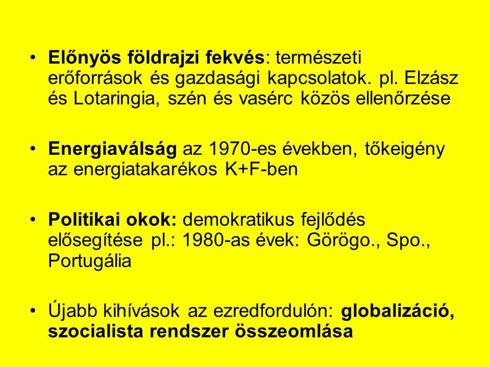 Előnyös földrajzi fekvés: természeti erőforrások és gazdasági kapcsolatok. pl. Elzász és Lotaringia, szén és vasérc közös ellenőrzése