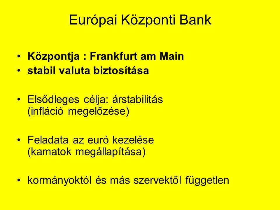 Európai Központi Bank Központja : Frankfurt am Main