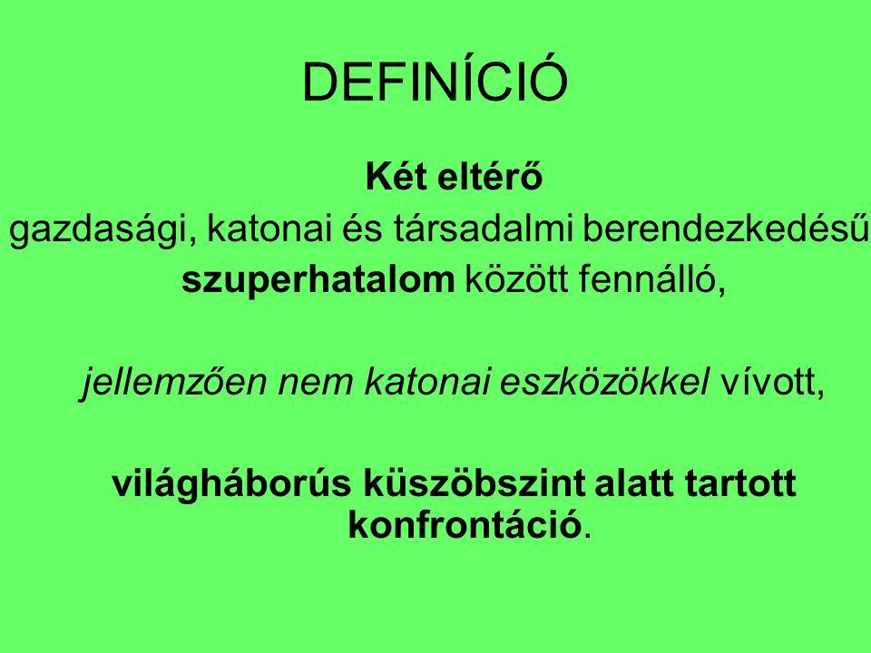 DEFINÍCIÓ Két eltérő gazdasági, katonai és társadalmi berendezkedésű