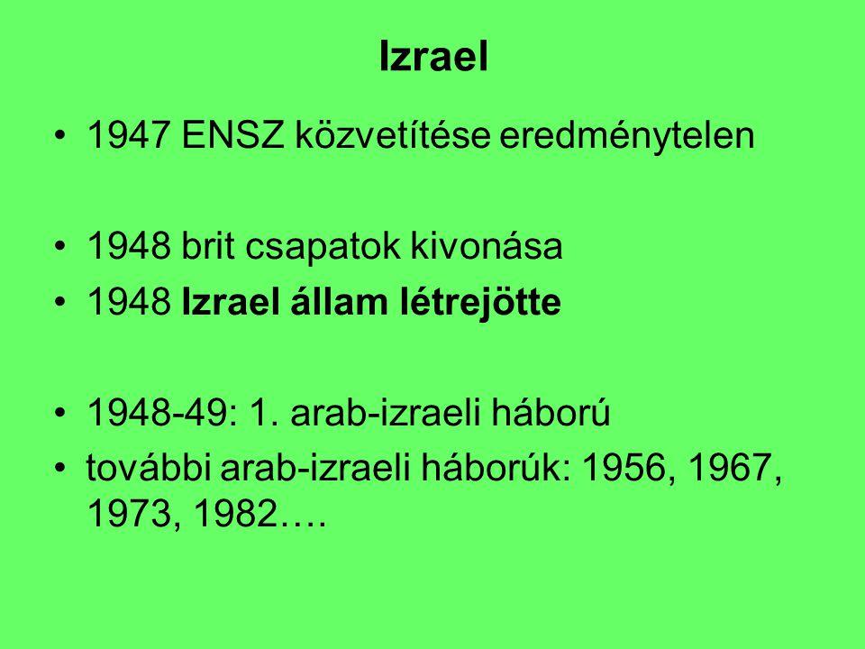 Izrael 1947 ENSZ közvetítése eredménytelen 1948 brit csapatok kivonása