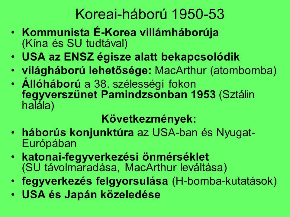 Koreai-háború 1950-53 Kommunista É-Korea villámháborúja (Kína és SU tudtával) USA az ENSZ égisze alatt bekapcsolódik.