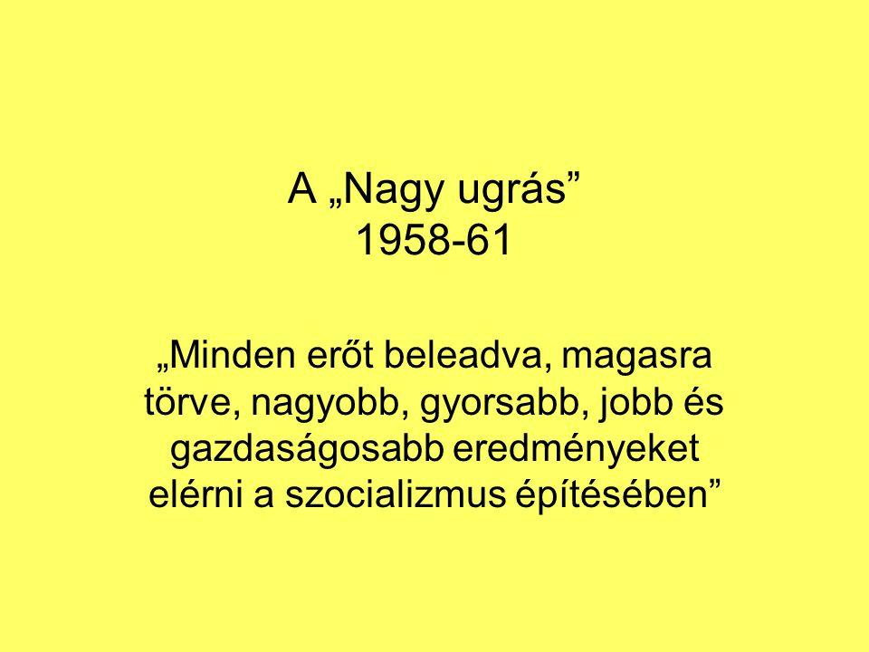 """A """"Nagy ugrás 1958-61 """"Minden erőt beleadva, magasra törve, nagyobb, gyorsabb, jobb és gazdaságosabb eredményeket elérni a szocializmus építésében"""