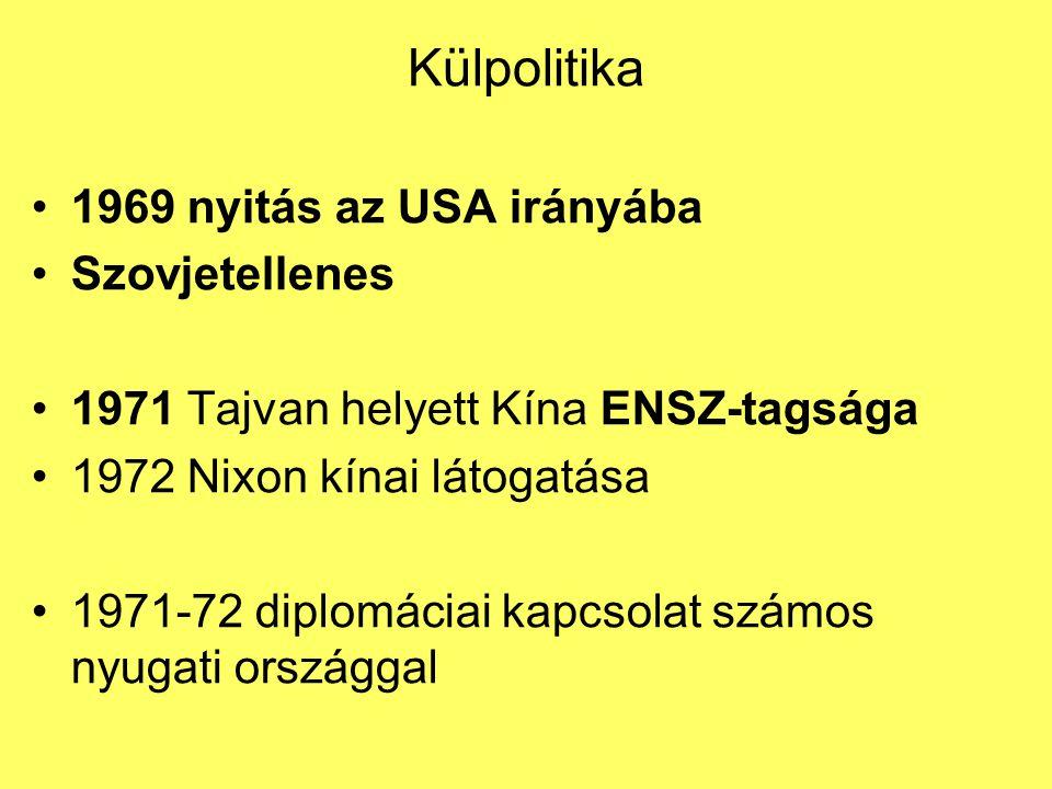 Külpolitika 1969 nyitás az USA irányába Szovjetellenes