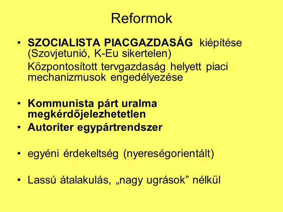 Reformok SZOCIALISTA PIACGAZDASÁG kiépítése (Szovjetunió, K-Eu sikertelen) Központosított tervgazdaság helyett piaci mechanizmusok engedélyezése.