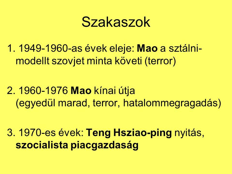 Szakaszok 1. 1949-1960-as évek eleje: Mao a sztálni-modellt szovjet minta követi (terror)