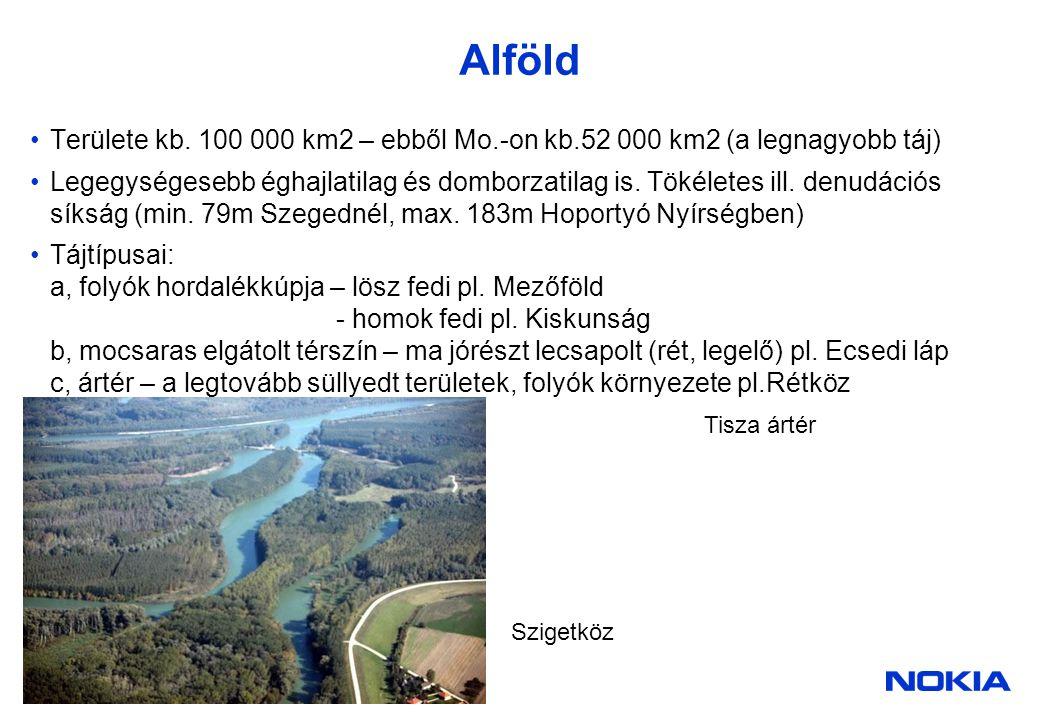 Alföld Területe kb. 100 000 km2 – ebből Mo.-on kb.52 000 km2 (a legnagyobb táj)