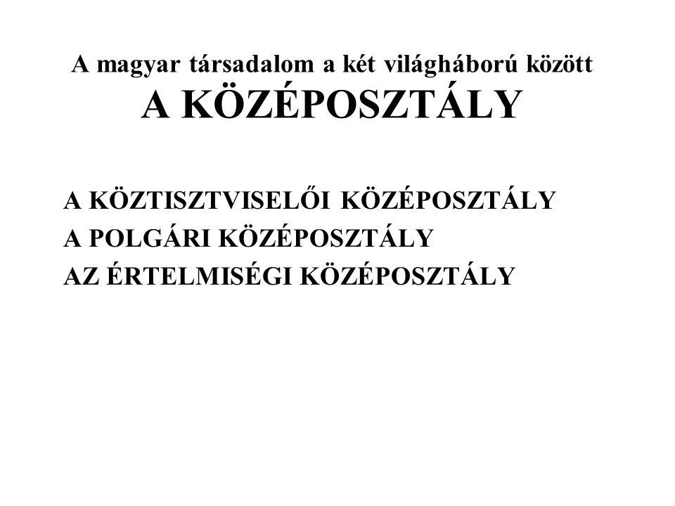 A magyar társadalom a két világháború között A KÖZÉPOSZTÁLY
