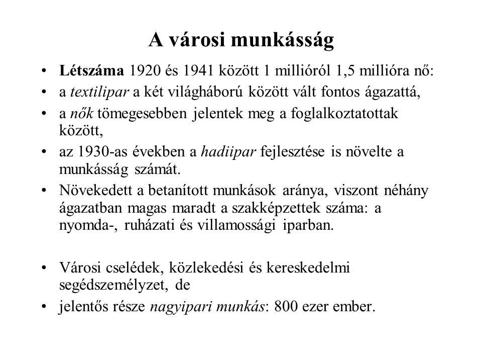 A városi munkásság Létszáma 1920 és 1941 között 1 millióról 1,5 millióra nő: a textilipar a két világháború között vált fontos ágazattá,
