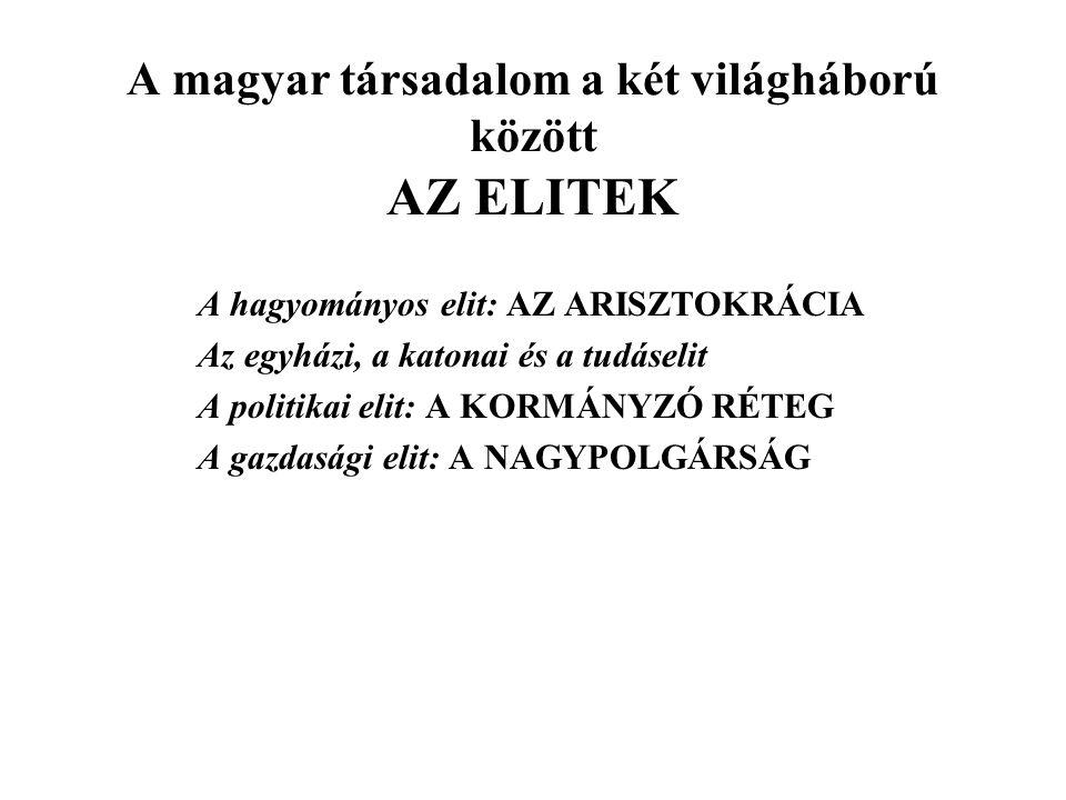 A magyar társadalom a két világháború között AZ ELITEK