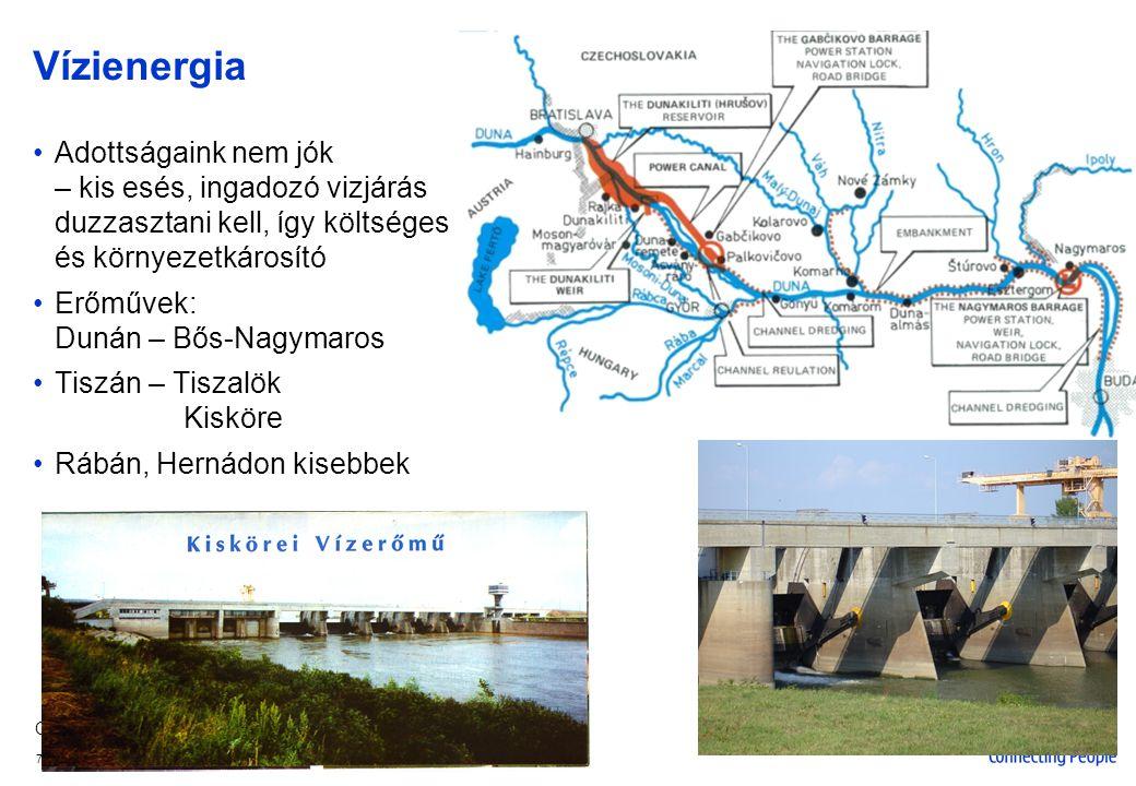 Vízienergia Adottságaink nem jók – kis esés, ingadozó vizjárás duzzasztani kell, így költséges és környezetkárosító.