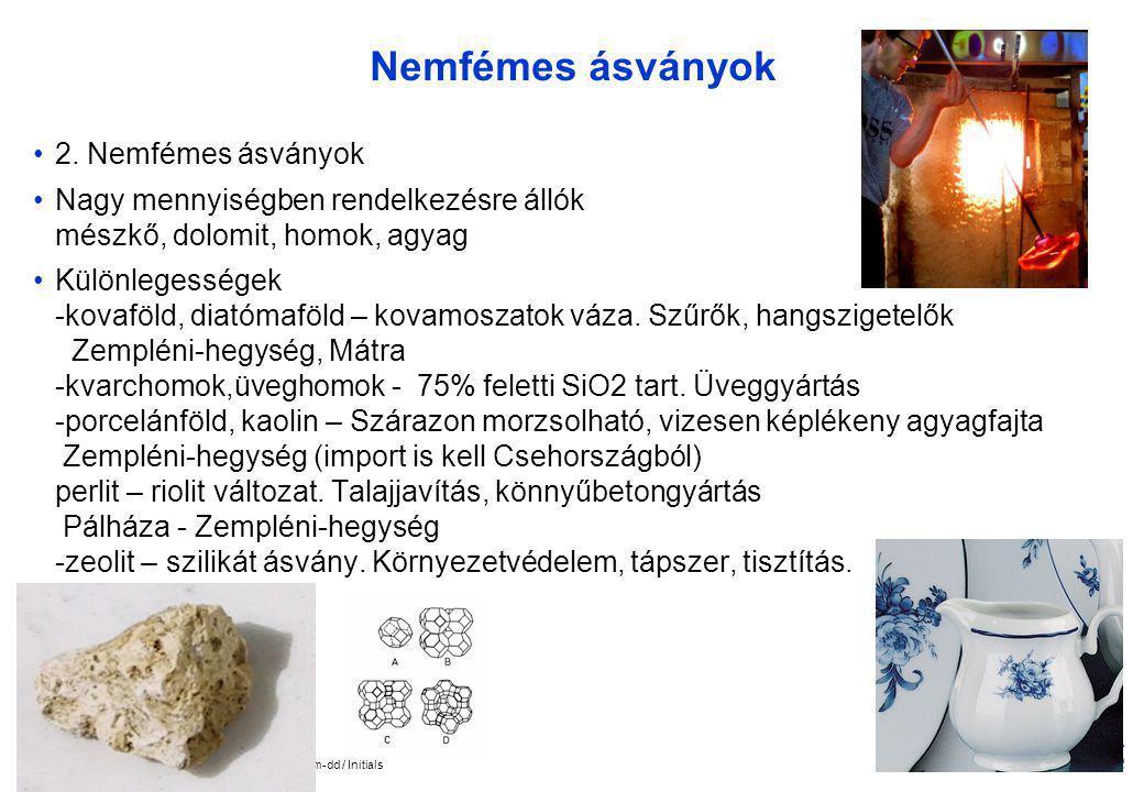 Nemfémes ásványok 2. Nemfémes ásványok