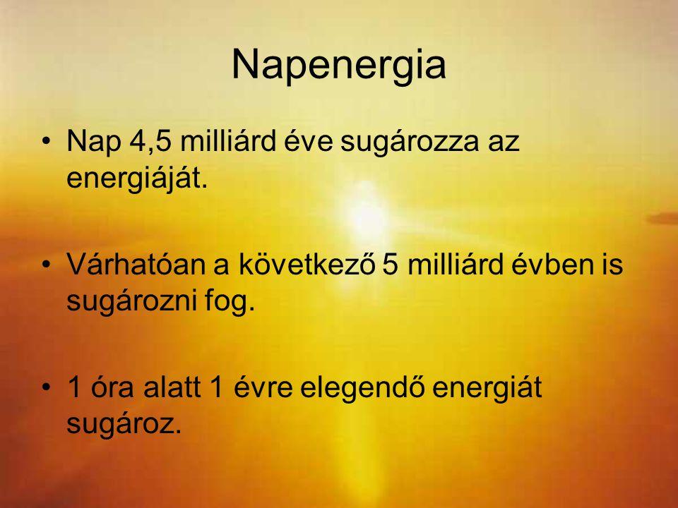 Napenergia Nap 4,5 milliárd éve sugározza az energiáját.