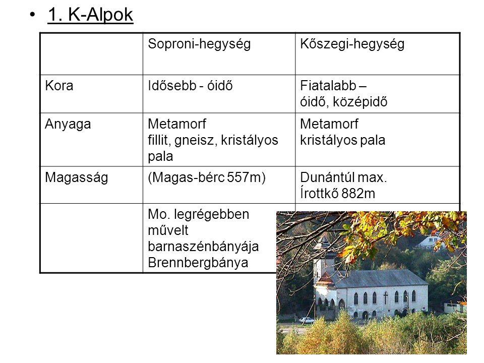 1. K-Alpok Soproni-hegység Kőszegi-hegység Kora Idősebb - óidő