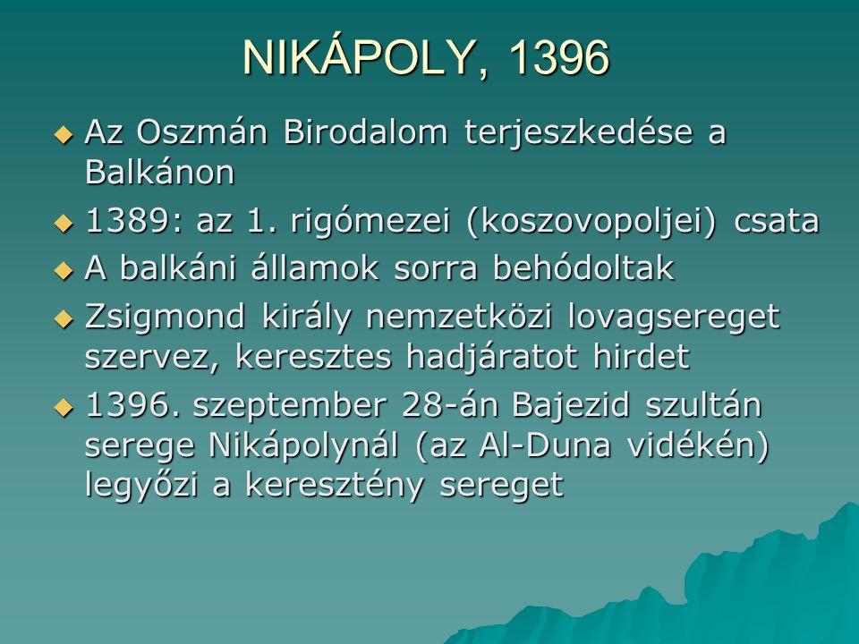 NIKÁPOLY, 1396 Az Oszmán Birodalom terjeszkedése a Balkánon
