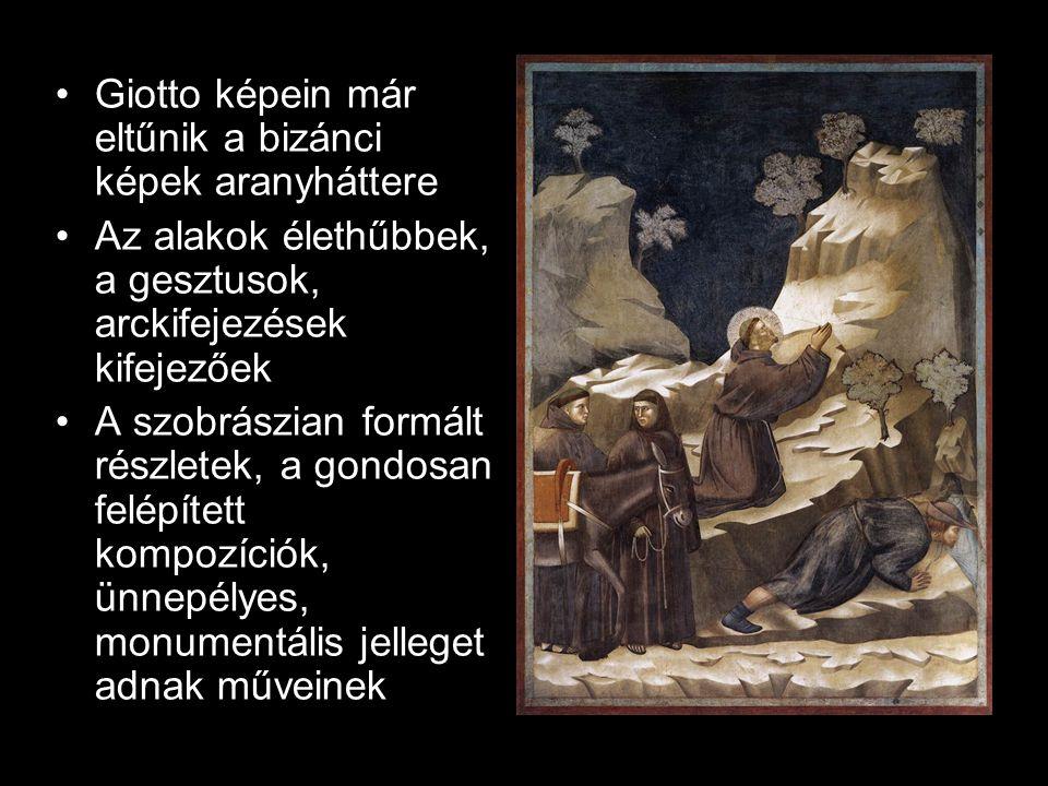 Giotto képein már eltűnik a bizánci képek aranyháttere