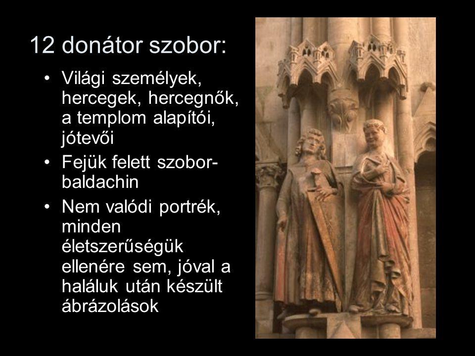12 donátor szobor: Világi személyek, hercegek, hercegnők, a templom alapítói, jótevői. Fejük felett szobor-baldachin.