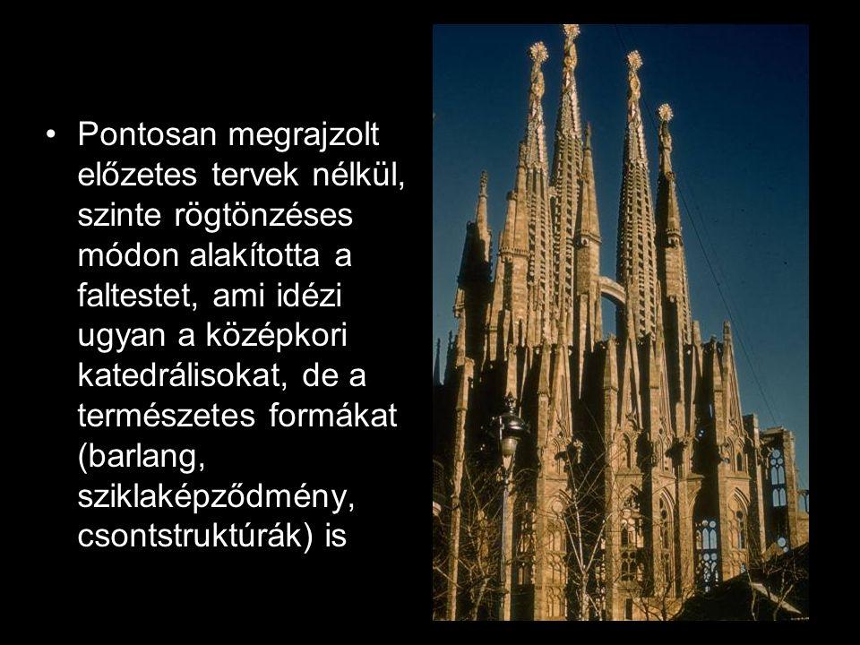 Pontosan megrajzolt előzetes tervek nélkül, szinte rögtönzéses módon alakította a faltestet, ami idézi ugyan a középkori katedrálisokat, de a természetes formákat (barlang, sziklaképződmény, csontstruktúrák) is