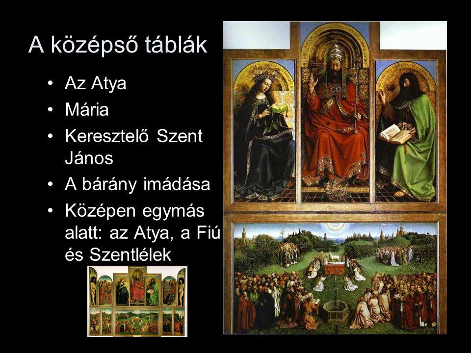 A középső táblák Az Atya Mária Keresztelő Szent János A bárány imádása