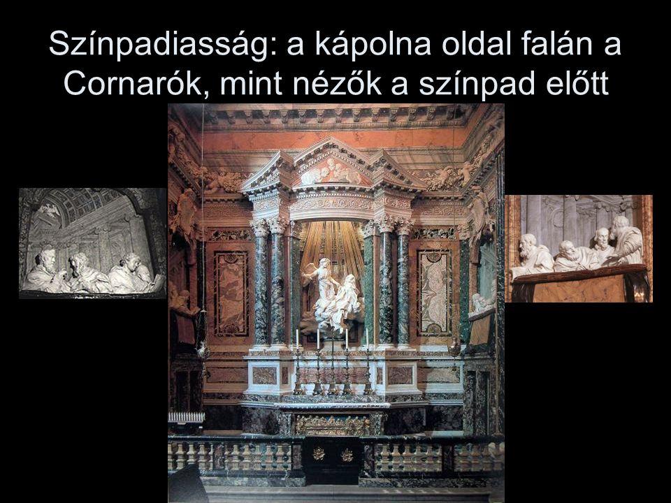 Színpadiasság: a kápolna oldal falán a Cornarók, mint nézők a színpad előtt