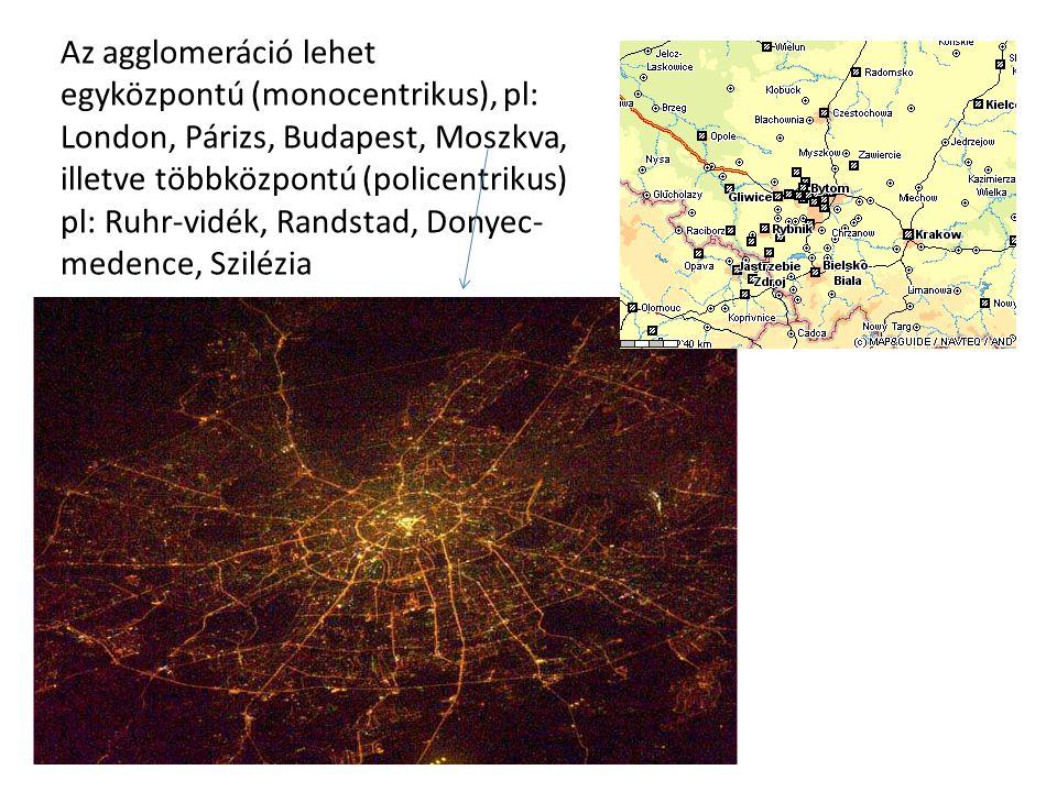 Az agglomeráció lehet egyközpontú (monocentrikus), pl: London, Párizs, Budapest, Moszkva, illetve többközpontú (policentrikus) pl: Ruhr-vidék, Randstad, Donyec-medence, Szilézia