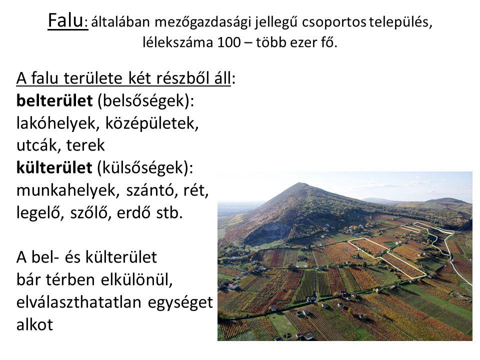 Falu: általában mezőgazdasági jellegű csoportos település, lélekszáma 100 – több ezer fő.