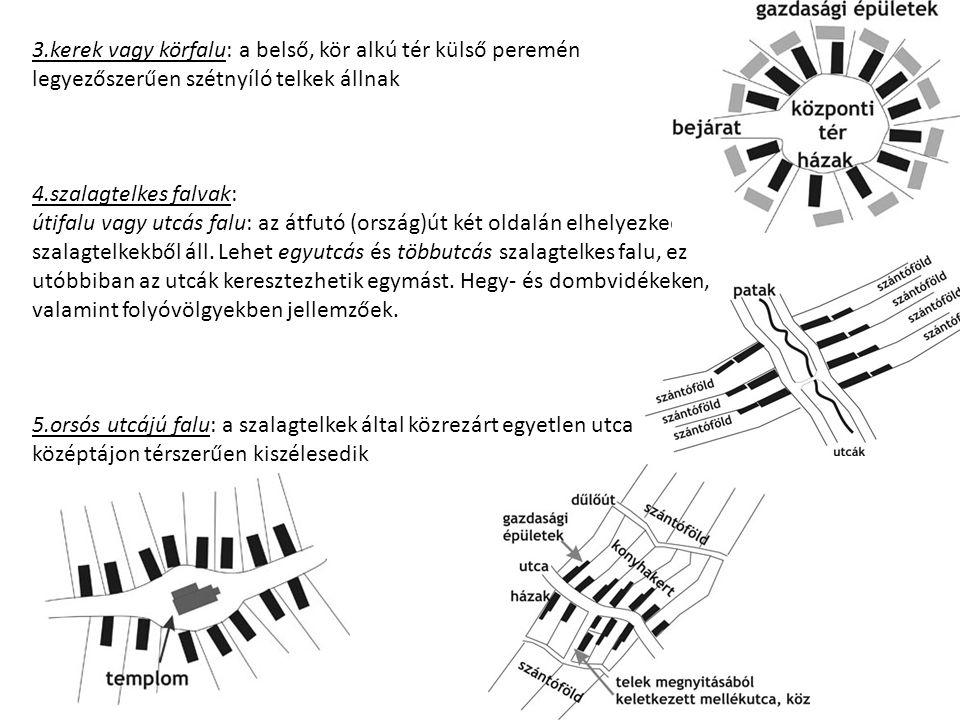 3.kerek vagy körfalu: a belső, kör alkú tér külső peremén legyezőszerűen szétnyíló telkek állnak